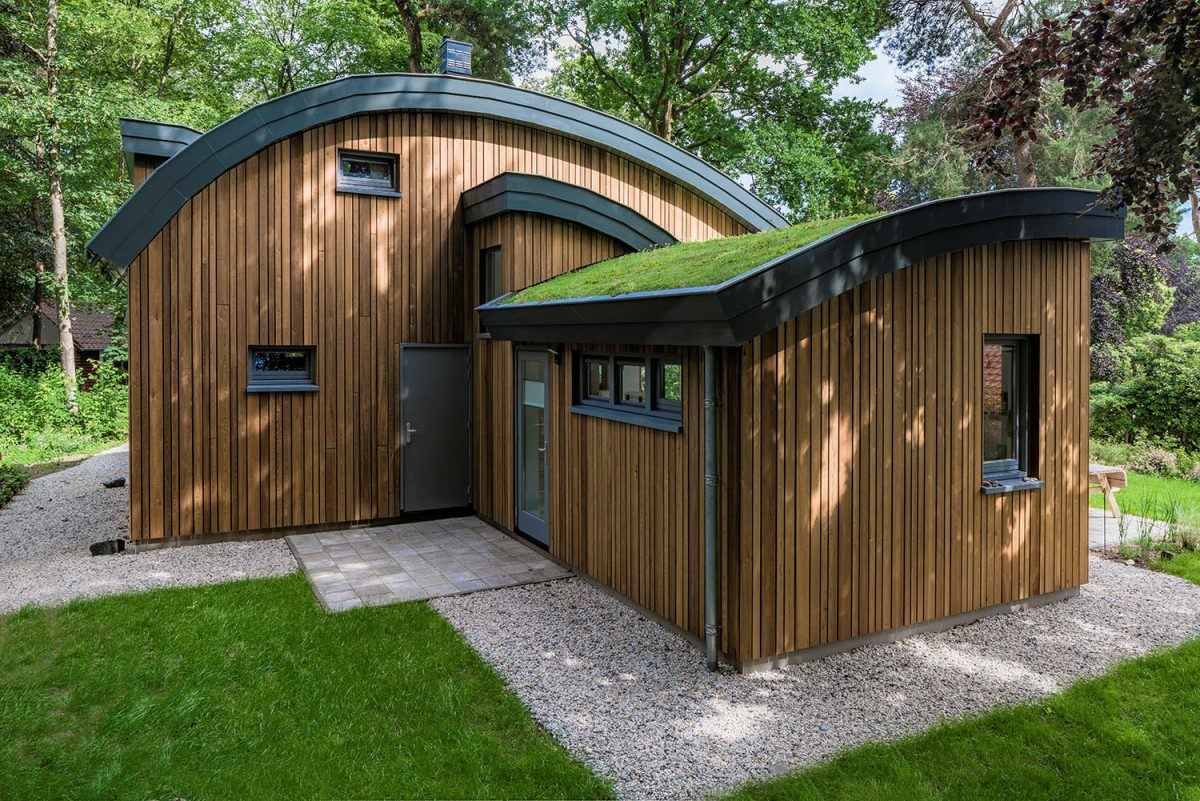 View of the rear facade where the round green roofs creates a joyful design