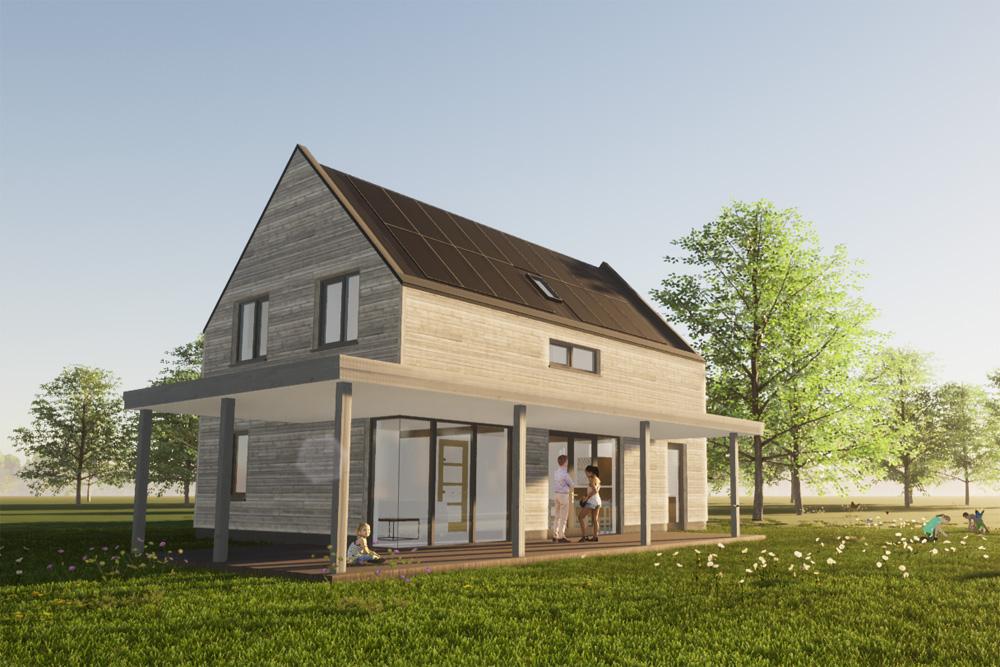 Artist impression van woning in Oosterwold: achtergevel met veranda