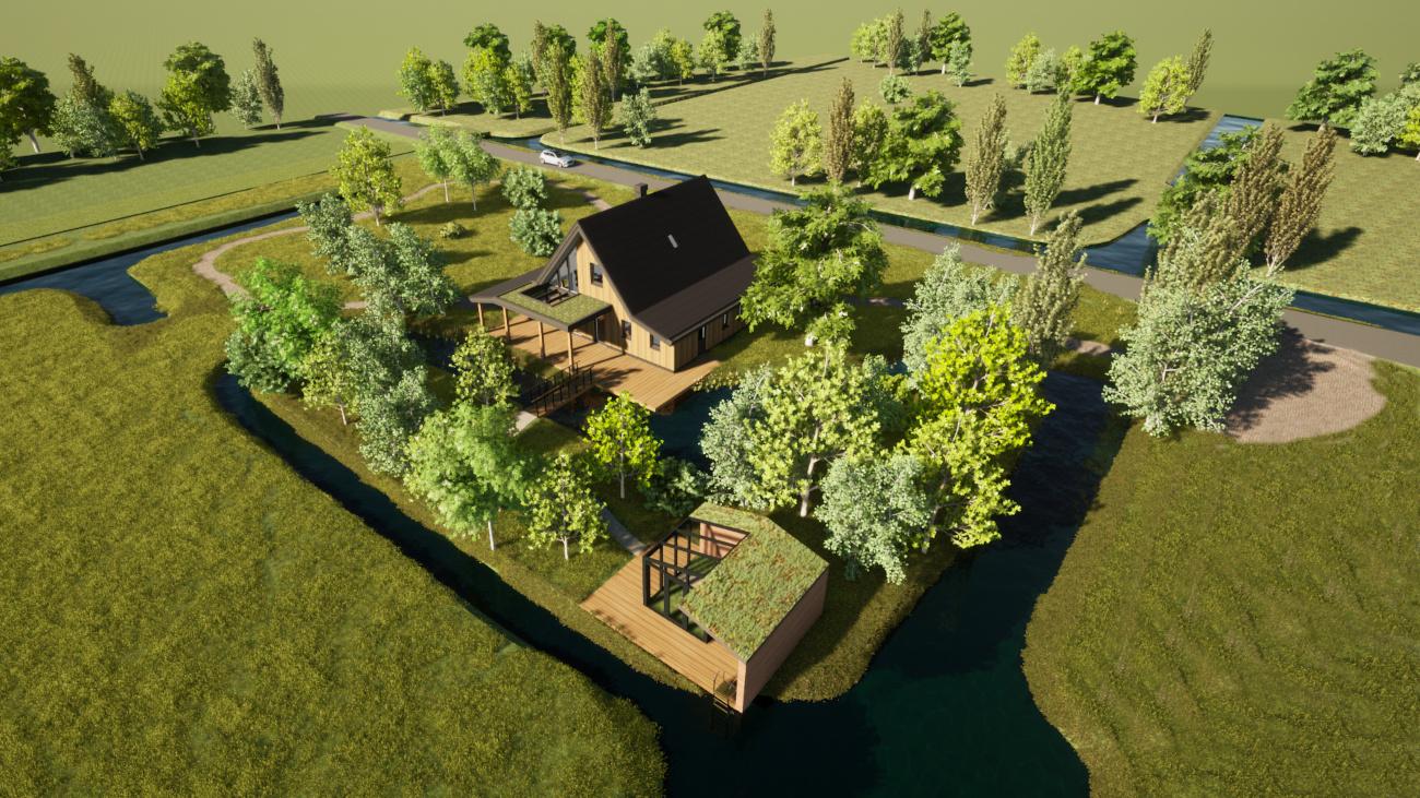 3D Render ontwerp biobased woning in Hoogmade, poldergebied in de buurt van Leiden, bovenaanzicht