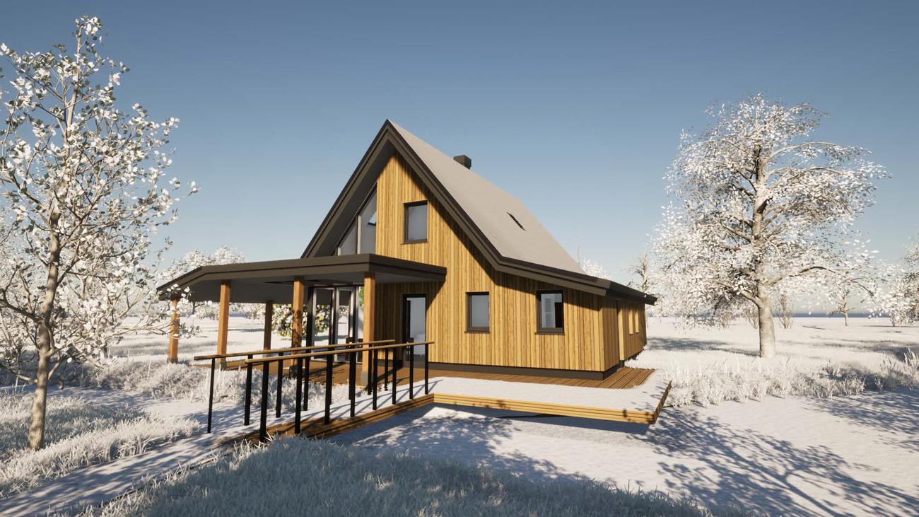 3D Render ontwerp biobased woning in Hoogmade, poldergebied