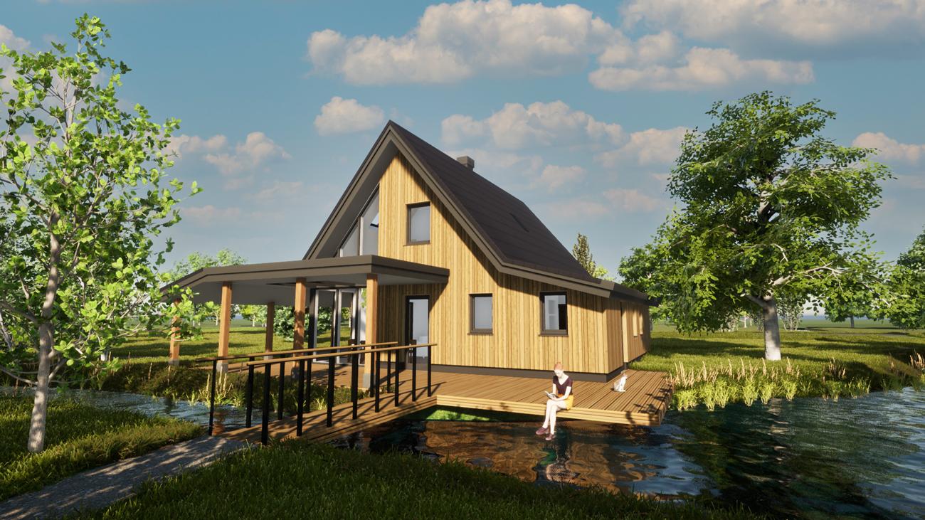 3D Render ontwerp biobased woning in Hoogmade, omringt met natuur en water