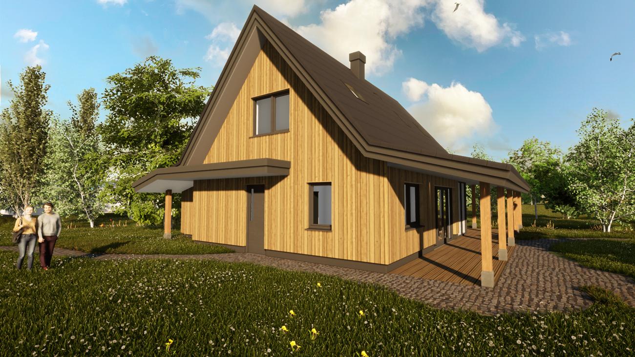 3D Render ontwerp biobased woning in Hoogmade