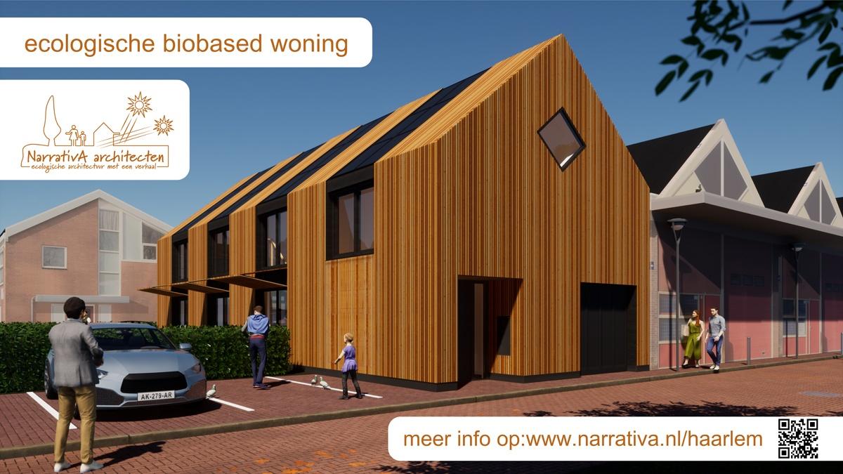 Bouwbord van ecologische biobased woning in Haarlem